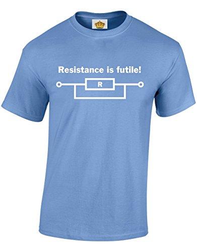 Crown Designs Resistance is Futile Kühler Flippiger Geek-Nerd Geschenk Für Männer Und Jugendliche T-Shirts Tops (Carolina Blau/Small)