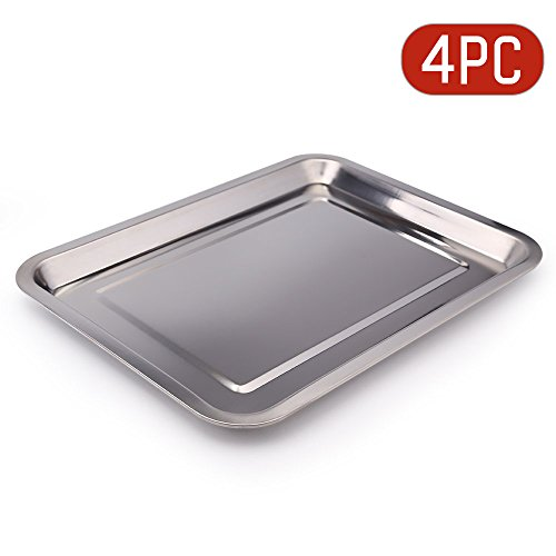 Uten Stainless Steel Tray Plate for Afternoon Tea Desserts Storage Tray Outdoor Camping Picnic Tableware Cookware Meat Platter Roasted Meat Dish (4 pieces )
