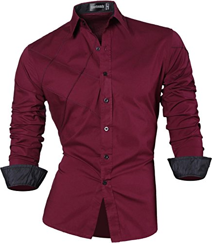 Sportrendy Herren Freizeit Hemden Slim Button Down Long Sleeves Dress Shirts Tops MFN2_JZS041 JZS044_WineRed