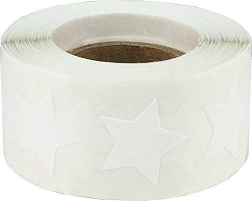 Weiß Stern Aufkleber, 19 mm 3/4 Zoll Breit, 500 Etiketten auf einer Rolle