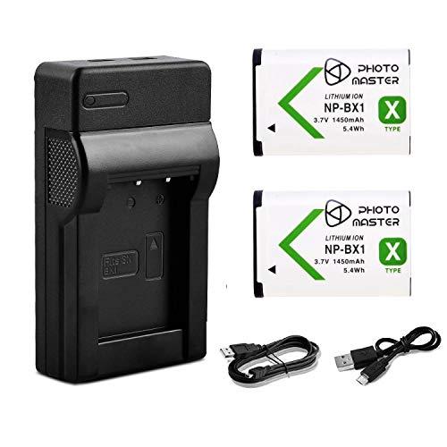 PHOTO MASTER 2X NP-BX1 Batería + USB Cargador para Sony DSC-HX60, DSC-HX60V, DSC-HX350, DSC-HX90, DSC-HX90V, DSC RX100, RX100 III, RX100 IV, WX350, HX400, HX500, HX60V, HX90, HDR-AS10, HDR-AS30V