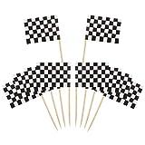 Bandiere Stuzzicadenti,100 Pezzi Bandierina di Corsa a Scacchi Toothpick Flags Marcatori Bandiera Piccole per Festa Torta Cibo Piatto del Formaggio Antipasti 3.5 * 2.5cm