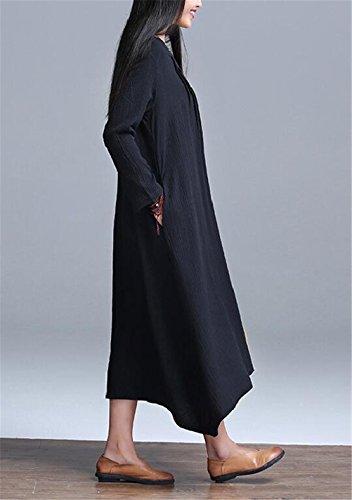 Femmes Rétro Vents Chinois Solid Couleur Lisse Casual Coton Lin Robe Longue Robe Noir