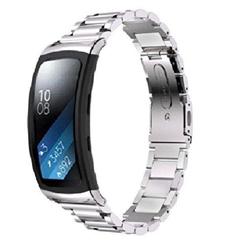 Gear Fit 2 SM-R360 Armband, OverDose Edelstahl-Armband Smart Watch Band-Bügel für Samsung Gear Fit 2 SM-R360 (Silber)