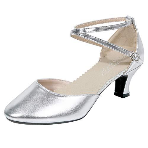 ABsoar Latin Salsa Tanzschuhe Damen Kristall Sandalen Glänzend Mode Elegant Pumps Sommer High Heel Stiletto Schuhe für Tanzen Rumba Waltz Prom Ballroom (Silber,41)