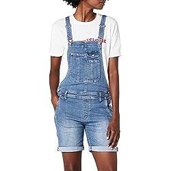 Pepe Jeans Jessica, pantalones de peto Mujer, Azul (Denim), 38 (Talla del fabricante: Small)