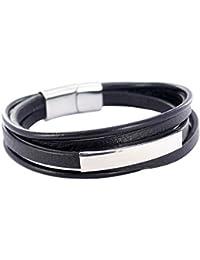 df1e0f9bb4f6 Emotional Bracelet Homme Personnalisable en Cuir Noir avec Plaque gravée – Gourmette  Personnalisable idéale pour Bracelet