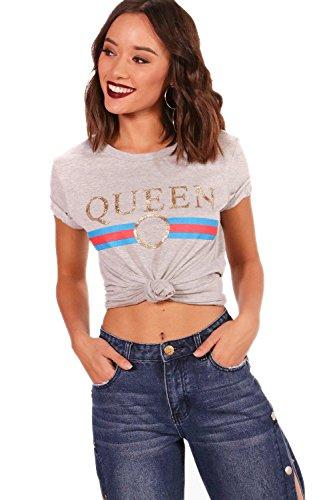 Gris Femmes T-Shirt Slogan Queen Amelia Gris