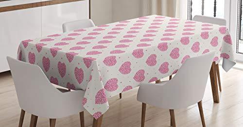 Abakuhaus san valentino tovaglia, cuori graziose con dots, antimacchia stampata con la tecnologia all'avanguardia lavabile, 140 x 170 cm, magenta pink rose