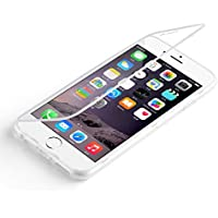 Flip cover iPhone 7 Plus, JAMMYLIZARD Custodia full-body protezione totale in Silicone Trasparente per iPhone 7 Plus, BIANCO