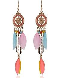 Earrings For Girls Fancy Party Wear Pink Alloy Dangle & Drop Earrings For Women (ER45bhogldpnk)