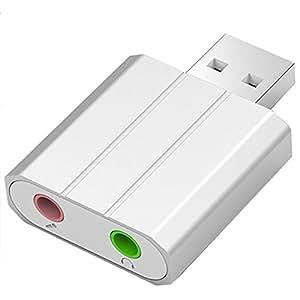 SEGURO aluminium son stéréo externe USB Adaptateur avec stéréo 3,5mm casque/haut-parleur et microphone Mono Jacks pour Windows, Mac et PS4. Plug and Play Aucun pilote n'est Nécessaire.–Argent