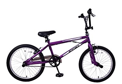 "Ammaco Freestyler 20"" Wheel Kids 360 Gyro Bmx Stunt Bike & Pegs Matt Purple"