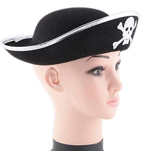 (Lanking Halloween Prop, Maskerade Party Cap Hut Stoff Tuch Material Schädel Print Piratenkapitän Kostüm Rolle (Silber))