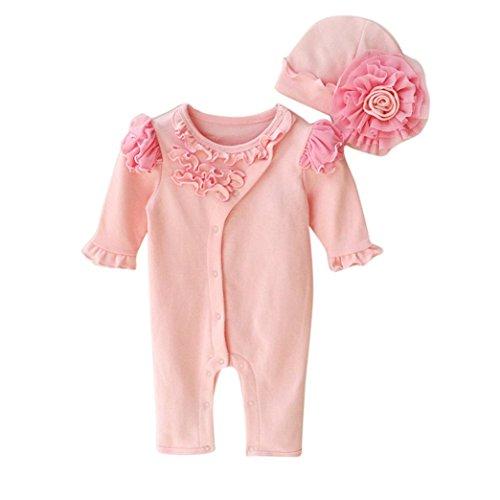Bekleidung Longra Säugling neugeborenes Mädchen Mütze Hüte + Strampler Bodysuit Playsuit Kleidung Set Outfit Babykleidung(0-9Monate) (50CM 0-3Monate, Pink)