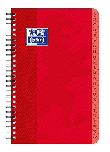 Oxford 100101605 Registerbuch, Verzeichnisbindung 9 x 14 cm, 90g, 100 Seiten, farblich sortiert