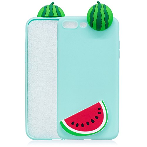 Cozy Hut Coque Housse Etui pour iphone 7/8 Plus, iphone 7/8 Plus Coque en Silicone, iphone 7/8 Plus Silicone Coque Housse Blanc Transparent Etui Gel Slim Case Soft Gel Cover, Etui de Protection Cas en Pastèque