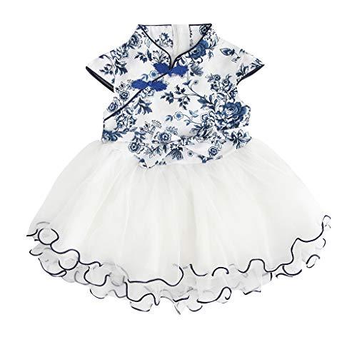 ☺HWTOP Cheongsam Kleider Mädchen Kleinkind Kinder Baby Festlich Floral Gestickte Blumen Spitze Patchwork Abendkleider CocktailKleid Partykleid Princess Dress (Blau,18-24 Monate)