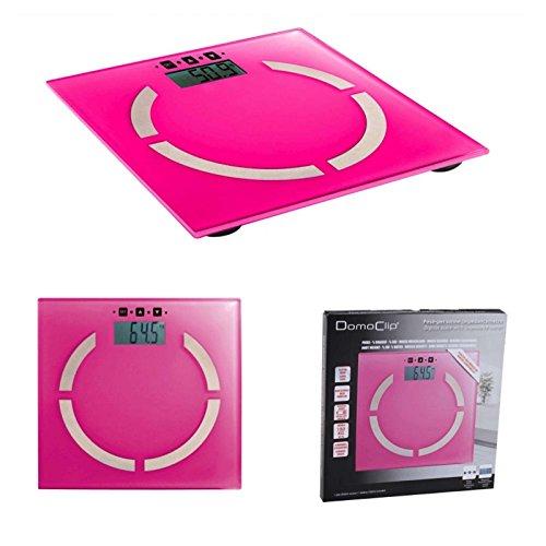 Digitale Analyse-Personenwaage in pink (Analyse-Waage, Körperfett-Anteil, BMI-Rechner, 100 gr-Schritten, 2 bis 180 kg, LCD-Anzeige, Akku-Ladeanzeige, Speicherung für 10 Personen)