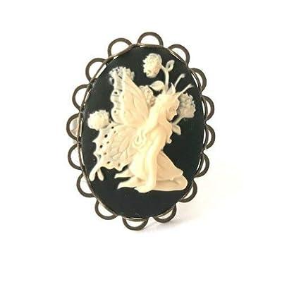 bague camée fée elfe noir et blanc féerie magie aile ovale dentelle vintage 18x25mm cabochon femme résine steampunk réglable bronze bijoux fantaisie original