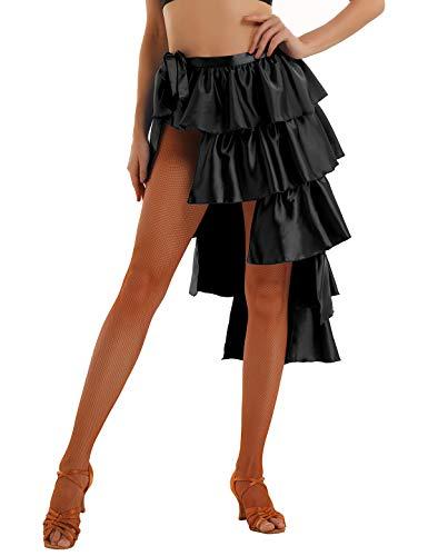 Tiaobug Damen Rock Wickelrock Latin Rock Bauchtanz Kostüme Frauen Sexy asymmetrisches Tanzkleid Satin Tanzrock mit Rüschen Lagenlook Schwarz XL