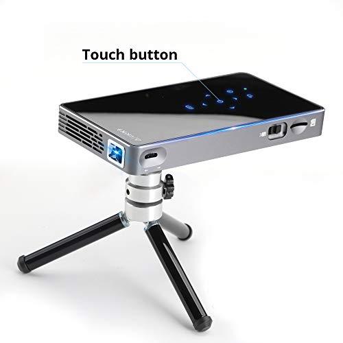 H&T Tragbarer Pico-Projektor, Mini intelligenter mobiler Android-Videoprojektor mit Bluetooth- / USB- / HDMI- / 8-GB-ROM-Unterstützung 1080P-Film für Unterhaltung im Freien/Heimkino