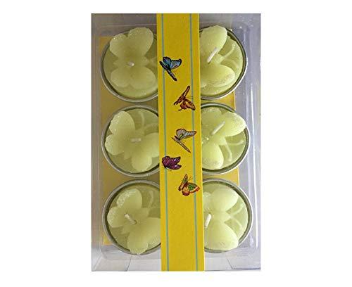 Unbekannt Kerze Kerzen Teelicht Teelichter Schmetterling 6er Set 4 Auswahl Dekoration Frühling Sommer Ostern Osterdeko Osterdekoration (6er Set gelb)