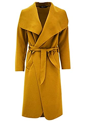 Vanilla Inc ® Ladies Womens PLUS SIZE Shawl Collar Trench Coat Top UK SIZE 8-20 (UK SIZE M/L(12-14), MUSTARD)