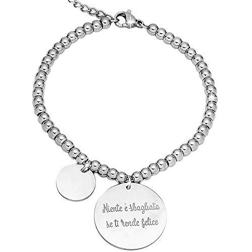 Beloved bracciale da donna in acciaio con frasi e pensieri in charms