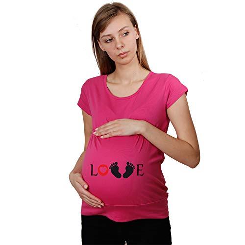 Modische Einkaufstaschen (meeboo - Love - Schwangerschafts-Shirt Tunika-T-Shirt für zukünftige Mütter - modische Damenbluse aus Baumwolle, sehr angenehm im Griff Kostenlos Einkaufstasche (XS, Pink))