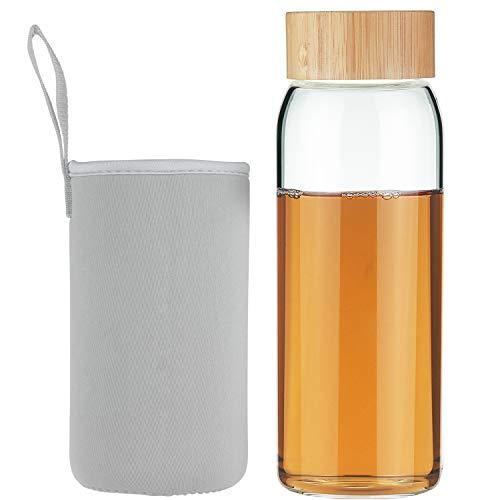 Life4u Borosilikat Trinkflasche Glas Wasserflasche Glasflasche mit Neoprenhülle BPA Free 750 ml Grau