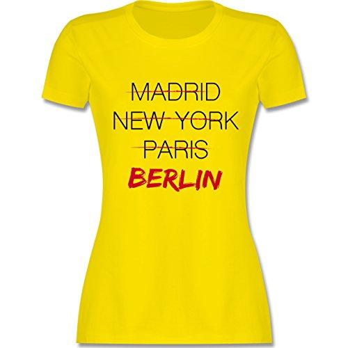 Städte - Weltstadt Berlin - tailliertes Premium T-Shirt mit Rundhalsausschnitt für Damen Lemon Gelb