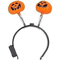 IIfreesia Halloween Fashion Glowing Light Kürbis Stirnband Halloween Kostüm Party Phantasie Ball Kopf Band Dekoration für Ghost Festival (Orange)