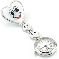 Gleader White Heart Quartz Movement Clip Nurse Brooch Fob Tunic Watch Smiley Face