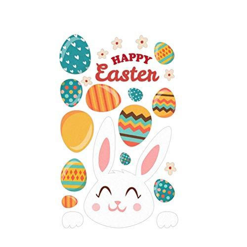 Amosfun adesivo da parete di pasqua easter bunny rabbit egg decalcomanie della decorazione della parete finestra si aggrappa decorazioni per la casa di pasqua ornamenti