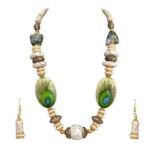 Sitashi Hand Made Peacock Feather Design Beads Necklace Set for Girls and...