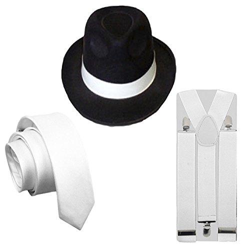 Herren 3-teiliges Gangster Schwarz Hut Weiß Hosenträger & Krawatte 1920's (Party 1920's Kostüme)