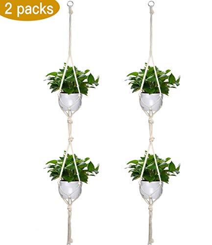 Odspter Hängender Blumentopf, Makramee Blumenampel Seil für 2 Blumentöpfe die mit Schlüsselring Hängen, Hängend Halterung Innen-oder Außen hängender Blumentopf