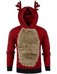 JiaMeng Sudadera de Invierno con Capucha Reno Pluma con Capucha Piel de Navidad Blusa 3D Hombre Sudaderas con Capucha