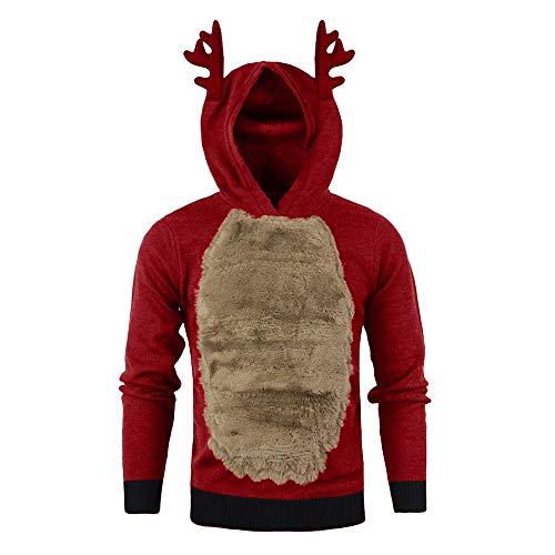 KPILP Weihnachten Kapuzenpullover Herren Federbluse Geweih Herbst Winter Warm Cosplay Niedlich und Lustig Rentier Weihnachtsfell 3D Oberteile …