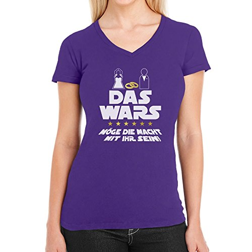 sellinnenabschied Party Das Wars mit Ihr Damen T-Shirt V-Ausschnitt Medium Lila (Lila Kostüm Idee)