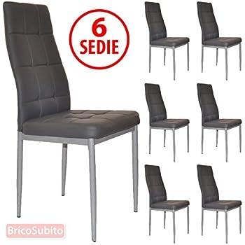 SET X6 SEDIE PER TAVOLO CUCINA SOGGIORNO SALA DA PRANZO ECO PELLE ...