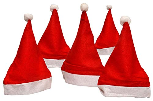 Partysanthe Christmas Santa Claus Caps for Kids and Adults -Set of 12 Pieces