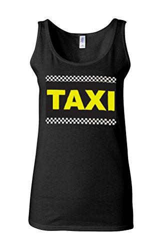 Taxi Cab Funny Novelty White Femme Women Tricot de Corps Tank Top Vest *Noir