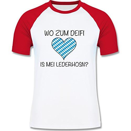 Oktoberfest Herren - Wo zum Deifi is mei Lederhosn? - zweifarbiges Baseballshirt für Männer Weiß/Rot
