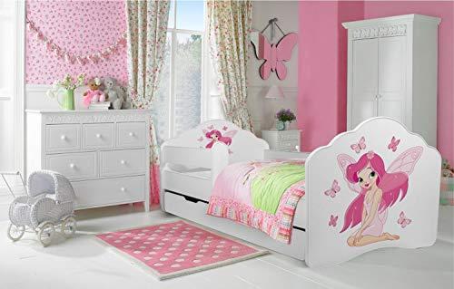 """Kinderbett """"Fee"""" Bett für ein Kind, Größe 140×70, mit einer Matratze, einer Schublade und einem schützenden Geländer - 4"""