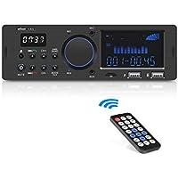 Autoradio Bluetooth Coche, Manos Libres ieGeek Mostrando el Reloj Soporta RDS/USB/SD/AUX/FM/AM/MP3/WMA/WAV/FLAC, Pantalla LCD con Control Remoto Inalámbrico, Guardarlo 30 Emisoras de Radio, 1DIN