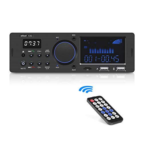 Autoradio Bluetooth ieGeek 60WX4 Auto Audio Ricevitore Doppio Display LCD con Orologio Supporta FM/AM/RDS Stereo Autoradio (30 Stazioni) Compatibile con USB/AUX in/MPS/FLAC/SD con Telecomando, 1DIN