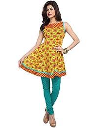 Enah Womens Cotton Beaded Anarkali Kurta ( _Yellow )