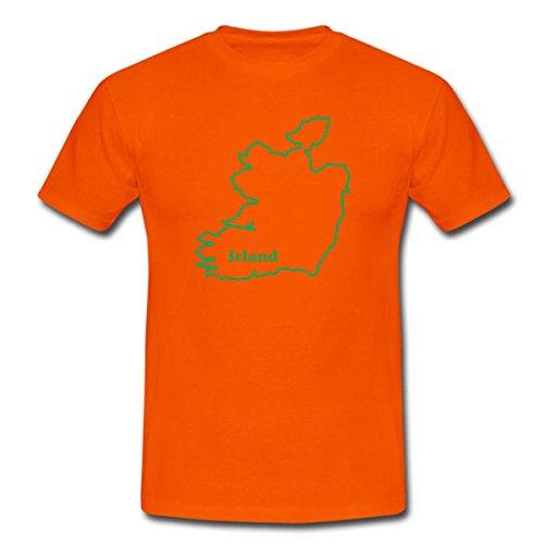 TShirt Ländershirt Irland mit Landkarte - Brustaufdruck Orange